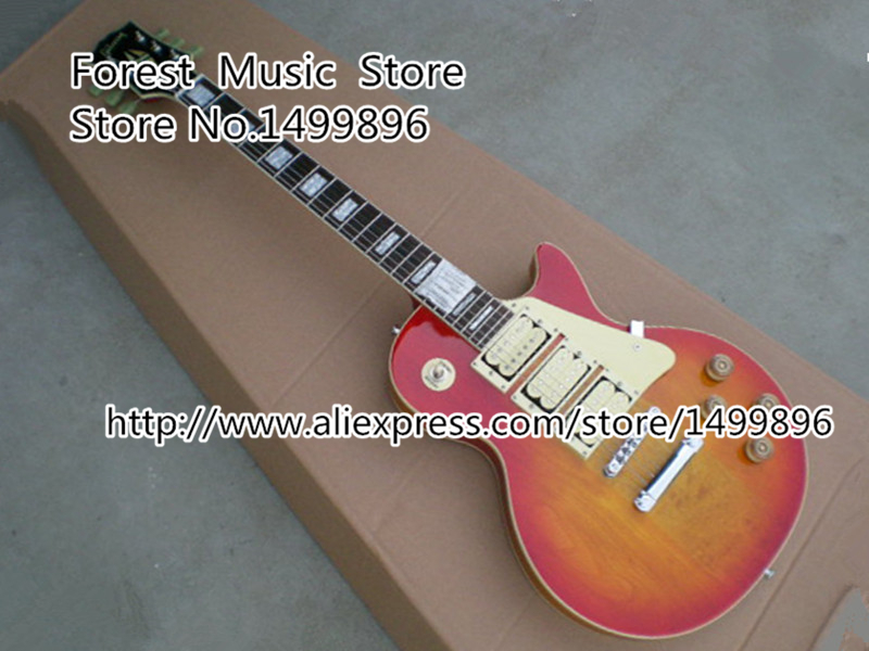 Wholesale & Retail Cherry Sunburst LP Guitar Electric Custom Lefty Available free delivery high quality custom store electric guitar silver hardware ebony lp guitar wholesale and retail real photos