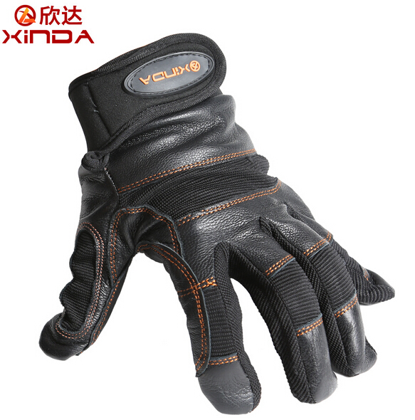 XINDA SRT Toboggan Down Abseiling Rope Climbing Caving Rescue Wear Non-slip Protective Leather Gloves