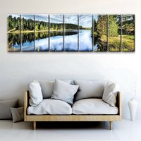 9 Pieces Landscape Photo Print Fir Trees by the Lake Beautiful Housewarming Gift Wall Art Painting for Home Decor Large Art Work