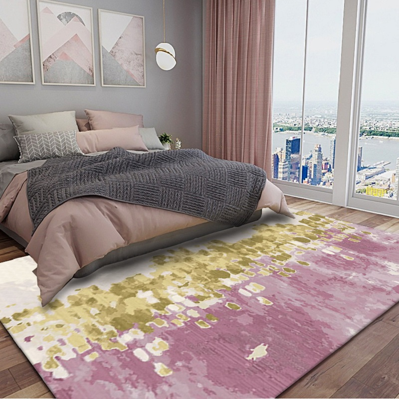 Fashion Nordic style Abstract oil painting carpet Pink gold Bedroom door mat living room plush rug non-slip luxury floor mat