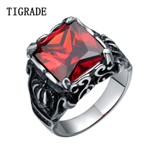 TIGRADE Mens Cubic Zirconia Stone Gothic Crown Rings Vintage Stytle Stainless Steel Ring With