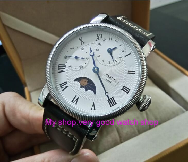 44mm PARNIS Moon Phase Mechanical Hand Wind movement mens watch Multi-function Mechanical watches wholesale GD251A44mm PARNIS Moon Phase Mechanical Hand Wind movement mens watch Multi-function Mechanical watches wholesale GD251A