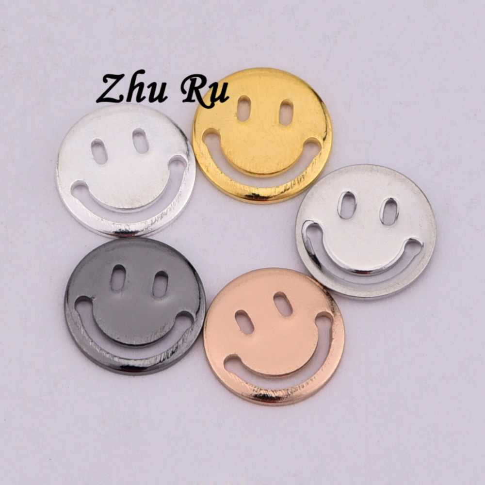 11mm 10pcs copper Hot Wholesales Lovely Cartoon cute round openwork smiley face Happy mood expression Jewelry DIY Charms Pendant