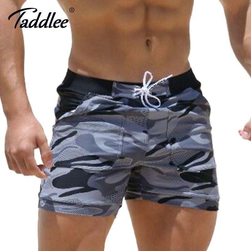 Taddlee Marca degli uomini Sexy Costumi Da Bagno Costumi Da Bagno Uomo Più Grande Formato XXL Spandex Beach Long Consiglio Shorts Boxer High Rise Cut Costumi Uomo