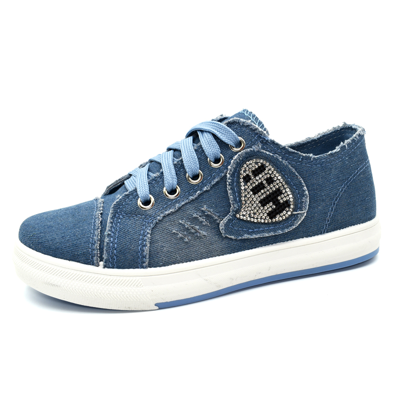 2017 women's shoes denim breathable students canvas shoes female version of the pure color plate shoes