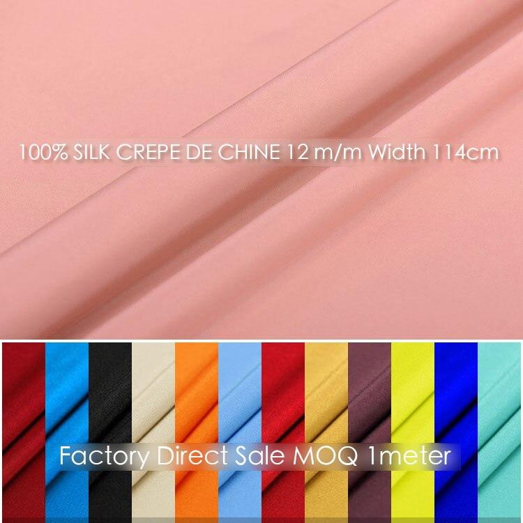 100% SILK CREPE DE CHINE114cm width 12momme soft silk natural Mulberry Fabric DIY Matt Color Women Evening Dress MOQ 1meter 1 30