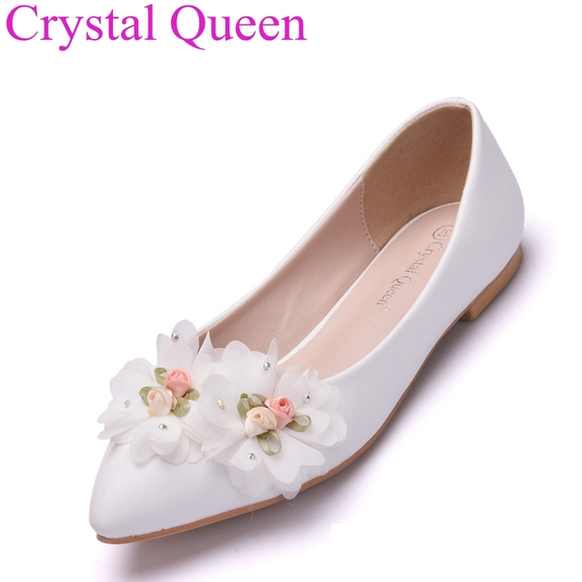 Fashion Flats For Women Shoes Flowers Casual Weeding White Wedding Flat Heel