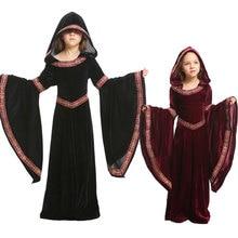Umorden Bambini Bambino Ragazze Adolescenti Medievale Strega Pagan Strega Costume Gotico di Velluto Con Cappuccio del Vestito di Halloween Costumi di Carnevale