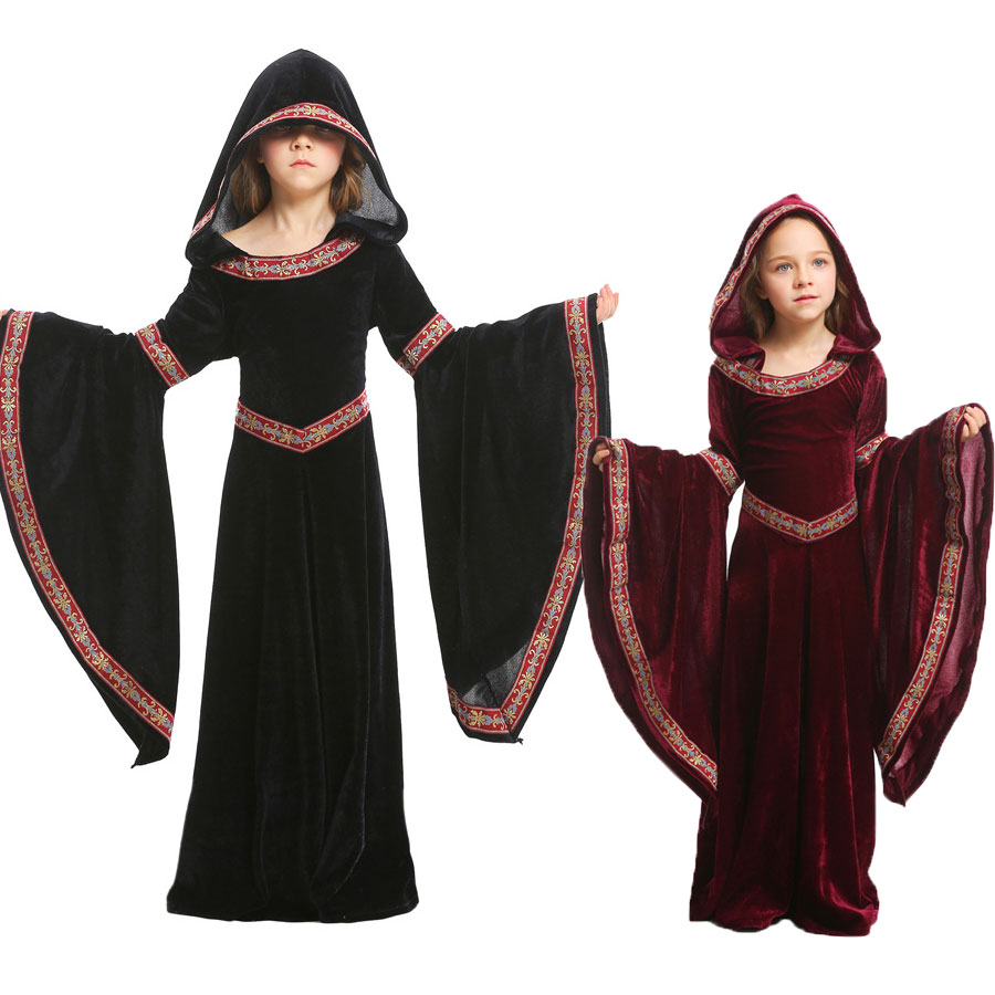 Umorden Kids Child Teen Girls Medieval Sorceress Pagan Witch Costume Gothic Velvet Hooded Dress Halloween Carnival Costumes