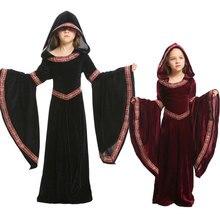 Umorden crianças criança adolescente meninas feiticeira medieval pagão traje de bruxa gótico veludo com capuz vestido halloween carnaval trajes