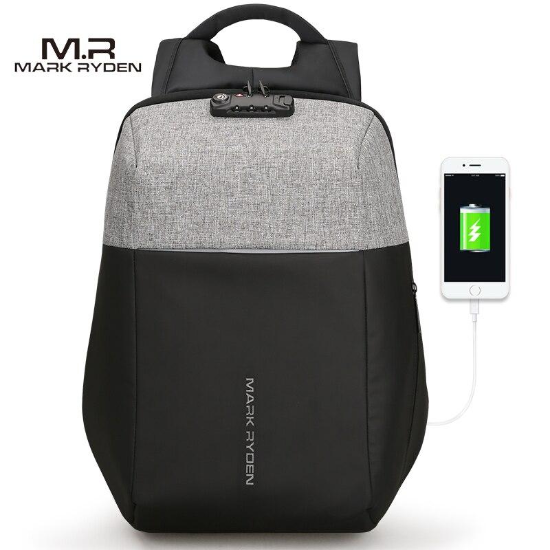 Markryden Neue anti-dieb USB Aufladen Laptop Rucksack Harte Schale Keine Taste TSA Zoll Lock Design Rucksack Männer Reisen rucksack