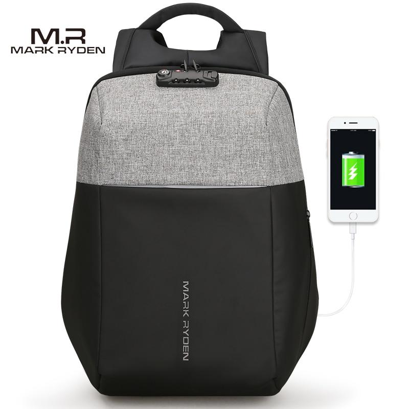 Markryden Novo Anti-ladrão de Recarga USB Laptop Mochila Casca Dura Não Chave Tsa Costumes Design Homens Mochila de Viagem mochila