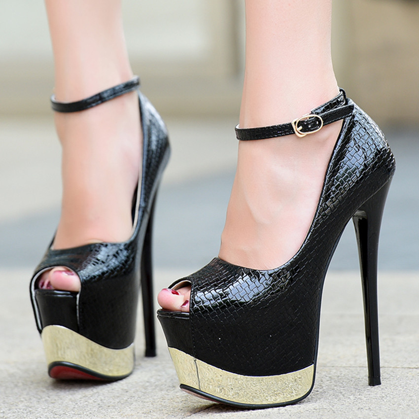 ФОТО New fashion sexy patent leather shoes serpentine fish head buckle 17cm high with fine with women's shoes