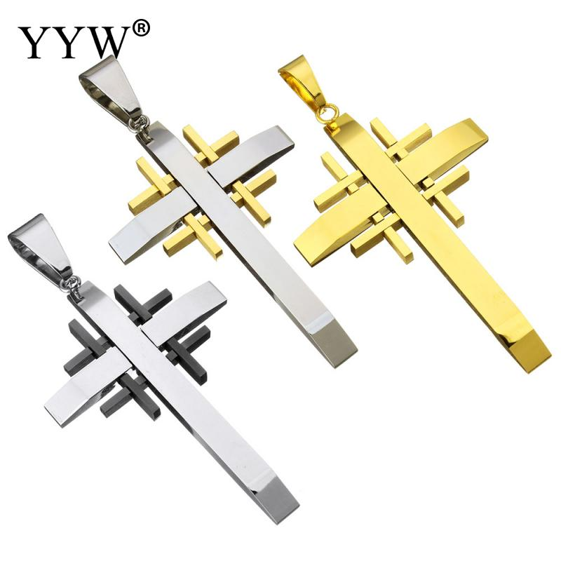 Luxury 316L Stainless Steel Pendant For Women Men Sliver-Color Cross DIY Making Jewelry Gift