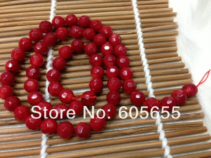 Морской бамбук 8 мм граненые круглые Коралловые бусы для изготовления модных ювелирных изделий 10 нитей в партии