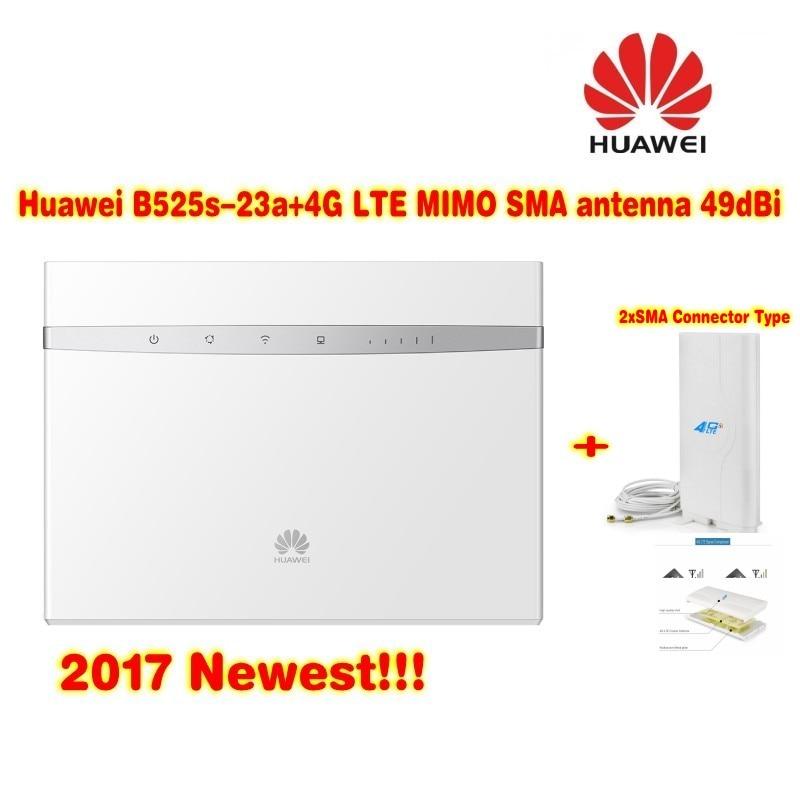 Huawei B525s-23a 4G LTE WLAN Router 300Mbit (plus 49dBi 3G/4G LTE Long Range Signal antenna)