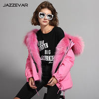 and winter new fashion women's fans wear cap and cotton jackets and overcoat, luxurious colorful raccoon fur coat.