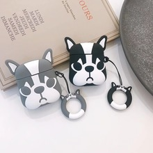 Cute Cartoon Bulldog Earphone Headset Accessories TPU soft case For Airpods Wireless 1 2 Bluetooth Headset bags