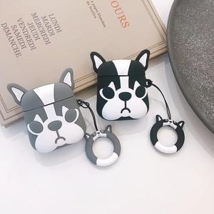 Image 1 - Cute Cartoon Bulldog Earphone Headset Accessories TPU soft case For Airpods Wireless 1 2 Bluetooth Headset bags