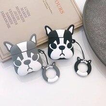 Sevimli karikatür Bulldog kulaklık kulaklık aksesuarları TPU yumuşak Airpods durumda kablosuz 1 2 Bluetooth kulaklık çanta