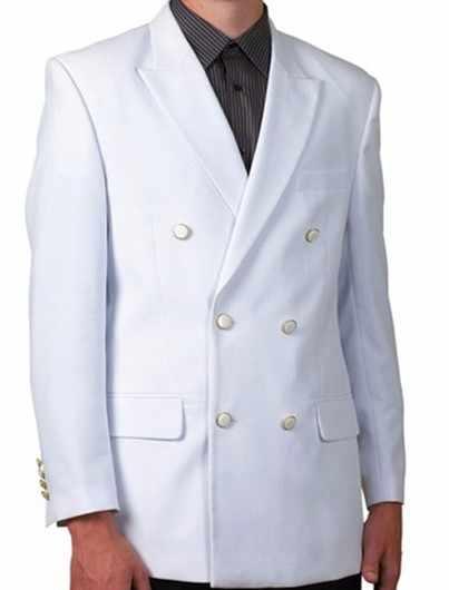 カスタムホワイトスリムフィット男性のウェディングドレス古典的なダブルブレスト男性のスーツジャケット新郎ファッション 2 ジャケット + パンツ