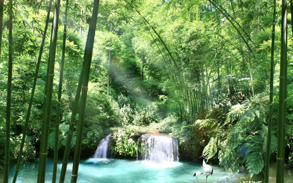 Moderne Blackout 3d Vorhang Bambus Wasserfall Fenster Vorhangstoff