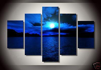 Oil Paintings On Canvas Dark Blue Ocean White Sun High Q
