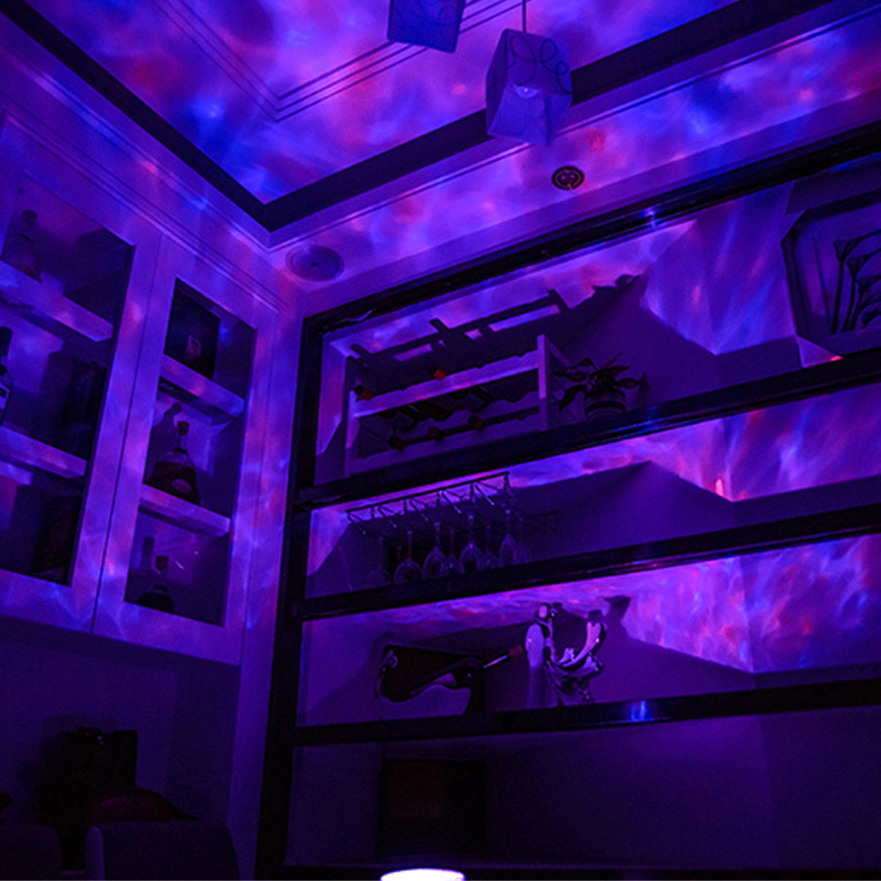 JOSOCCO Led Ocean Wave Projector Night Light Music Player Speaker LED Remote Control TF Cards Aurora Master Projection