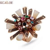 KCALOE Bunte Strass Zirkonia Ring Antiken Roségold Farbe Kristall Spalte Großen Blumen Hochzeit Frauen Ringe Schmuck