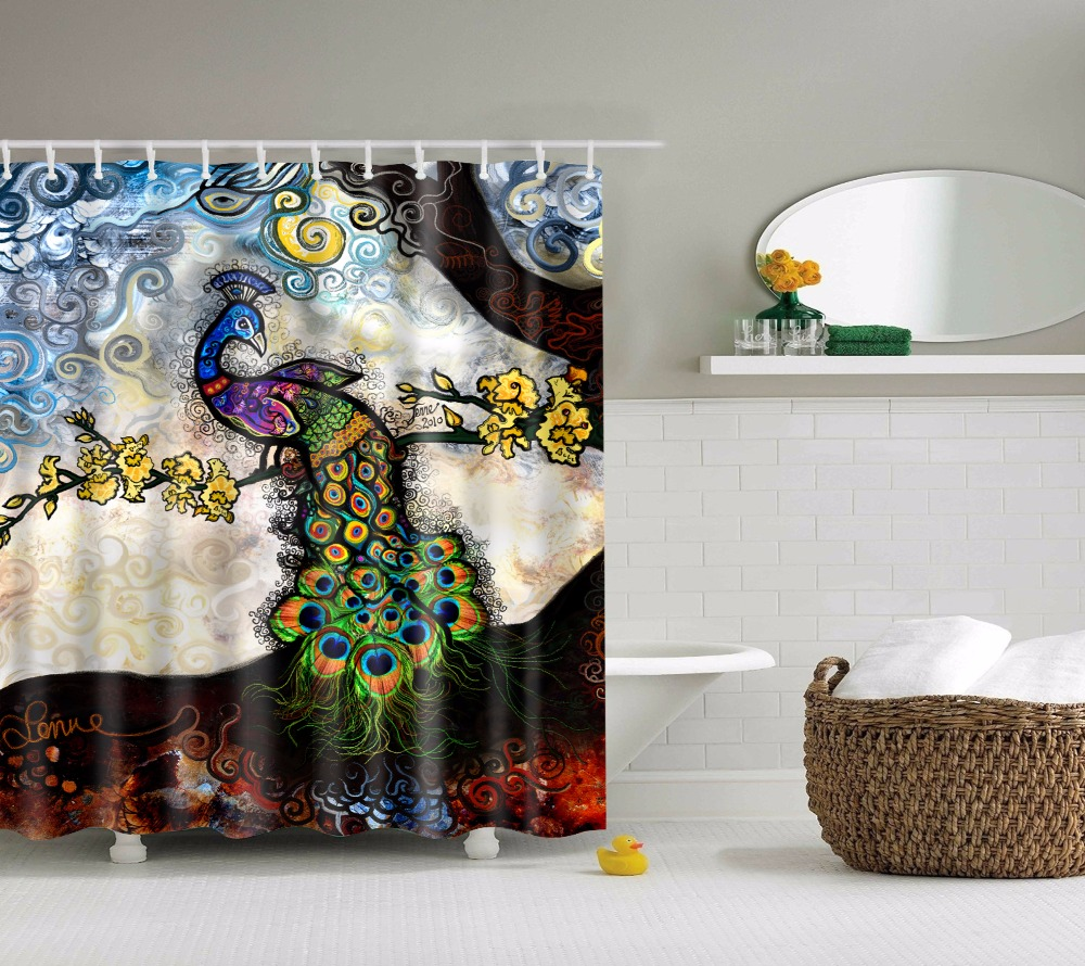 LFH 180X180CM Beautiful Peacock Pattern Shower Curtain Waterproof Polyester  Bathroom Sets Home Decor Shower Rings(