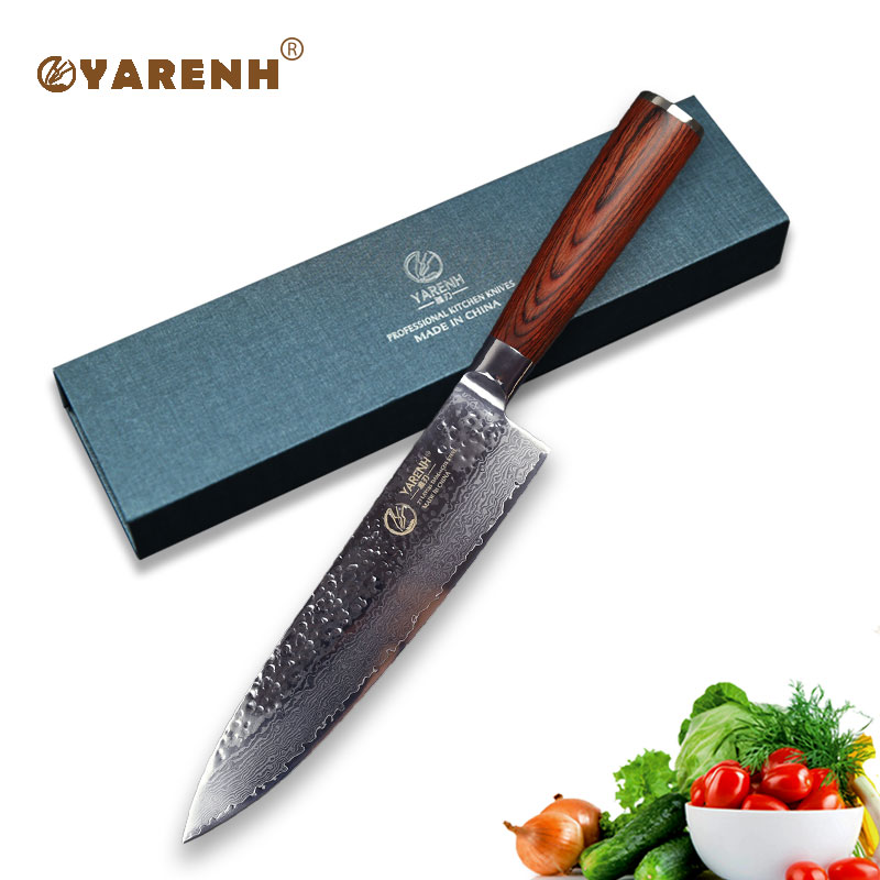 yarenh 8 best chef knife with pakka wood handle best kitchen knives vg10 damascus steel santoku. Black Bedroom Furniture Sets. Home Design Ideas