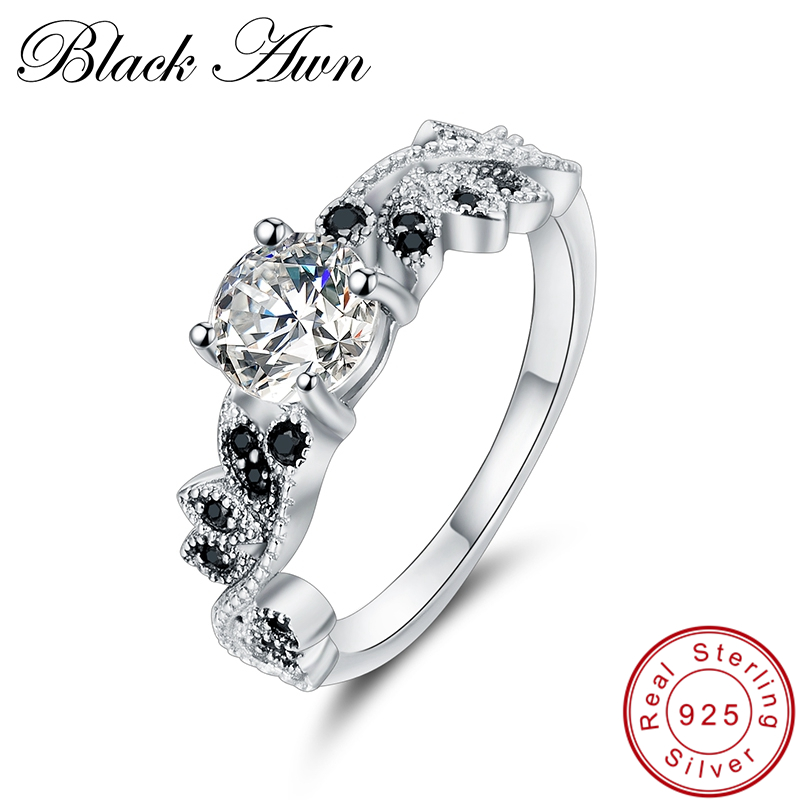 [BLACK AWN] Genuine 100% 925 Sterling Silver Jewelry Black&White Stone Engagement Rings for Women C297[BLACK AWN] Genuine 100% 925 Sterling Silver Jewelry Black&White Stone Engagement Rings for Women C297