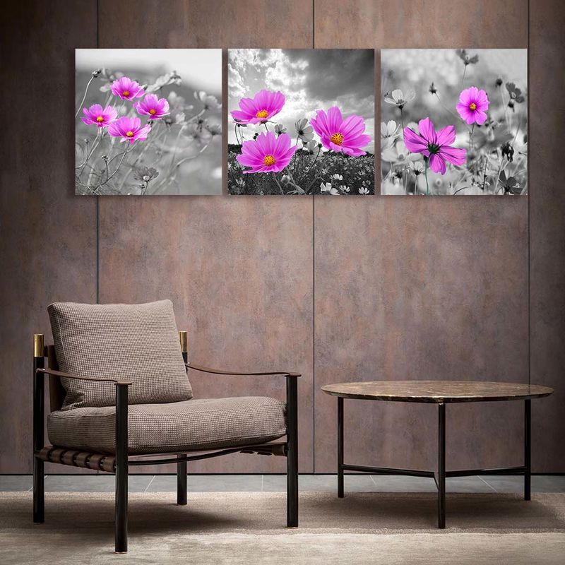 3 Panels Black And White Flower Canvas Prints Wall Art For
