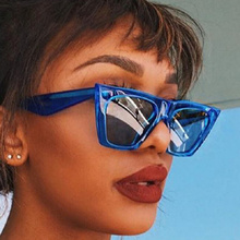 2019 Hot Cat Eye Kim Kardashian Sunglasses Luxury Brand Designer Women Sun Glasses Lady Square Frame Cateye Eyewear