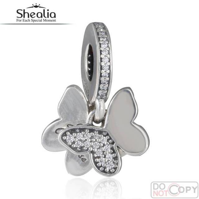 2016 primavera reciente mariposas revoloteando cuelga los encantos con Clear CZ 925-Sterling-Silver joyería apta pulseras Diy DG187