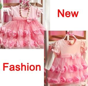 New tutu baby formal party dress newborn puff female child rose princess infant wedding dresses FREE SHIPPING