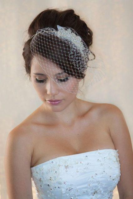 Mariage voile 2017 cristal perles voile de mariée cage à oiseaux voile veu  de noiva accessoire