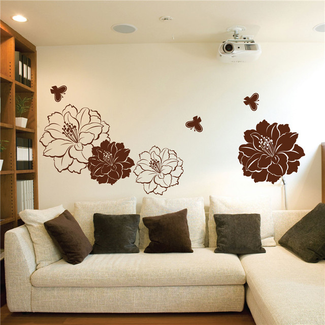 Large flower butterflies custom wall stickers living room bedroom decoration mural diy wall decals for kids