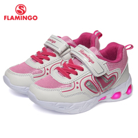FLAMINGO Brand Fashion LED Size 23-29 Comfortable Children Shoes Spring Breathable Hook&Loop Kids Sneakers for Girls 91K-KS-1232
