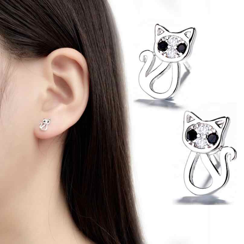 Jisensp Fashion Crystal Cat Earrings Everyday Jewelry Cute Animal Stud Earrings for Women Girl Party boucle d'oreille femme