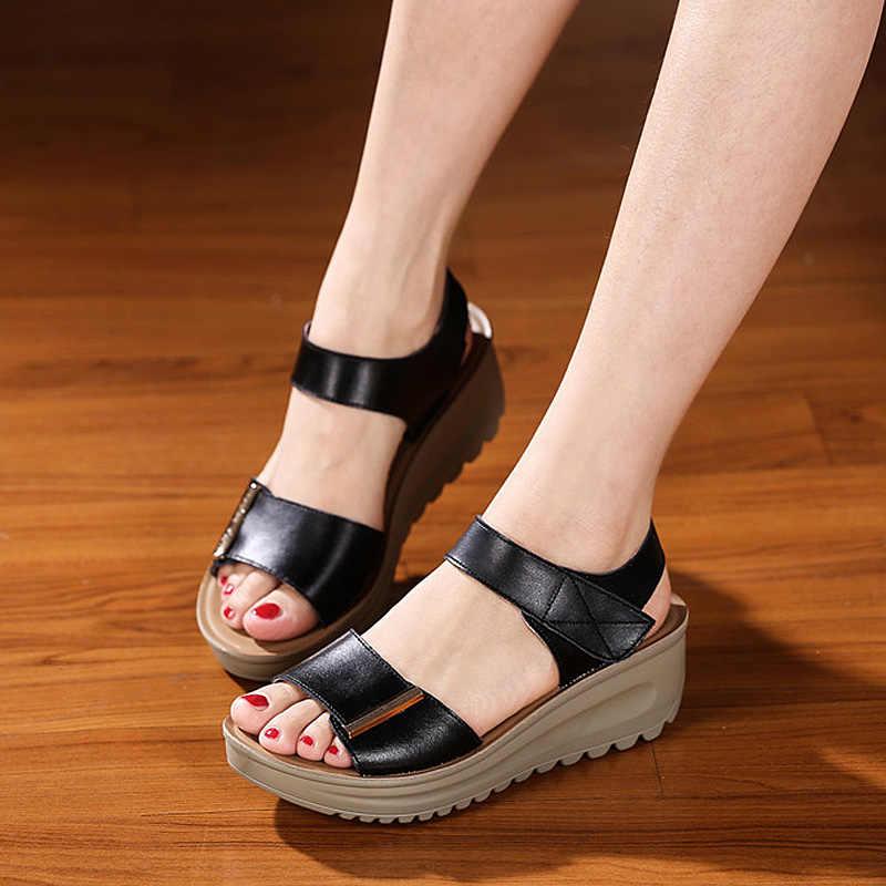 c804996f93c0 ... Quanzixuan Summer Sandals Women 2018 Platform Sandals Wedge Shoes White  Bohemia Women Sandals Summer Flat Sandals