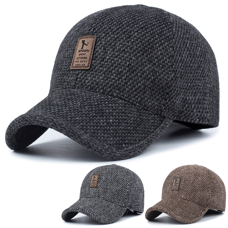 hat baseball dad warm cap winter fitted hats caps snapback thickened ear protection cotton brand