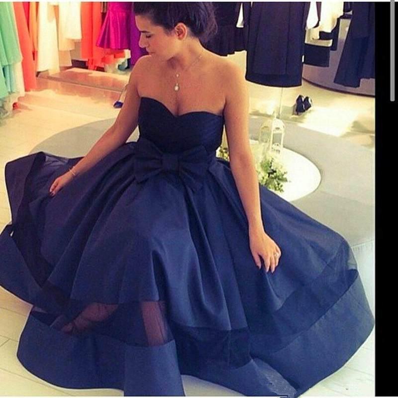 prom     dresses   2019 Saudi Sweetheart Bow Pleat Satin A-Line Arabic Evening   Dress   Vestido Longo Navy Blue Tea Length   Prom     Dress