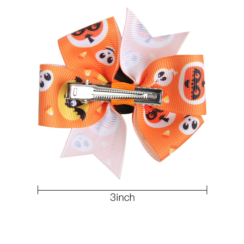 AHB Hair Accessories Halloween 3 quot Small Hair Bows Hair Clips for Girls Funny Print Bowknot Hairpins Festival Party Kids Headwear in Hair Accessories from Mother amp Kids