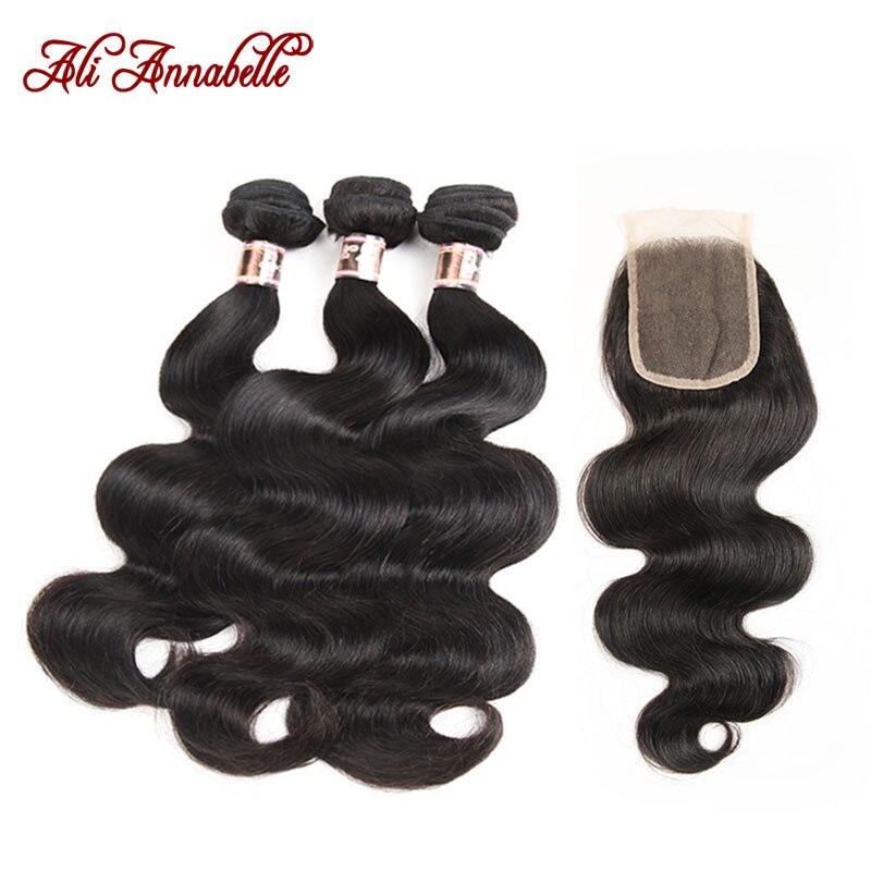 ALI ANNABELLE HAIR Peruvian Body Wave Lace Closure 3 Bundles Human Hair Bundles With Closure Free