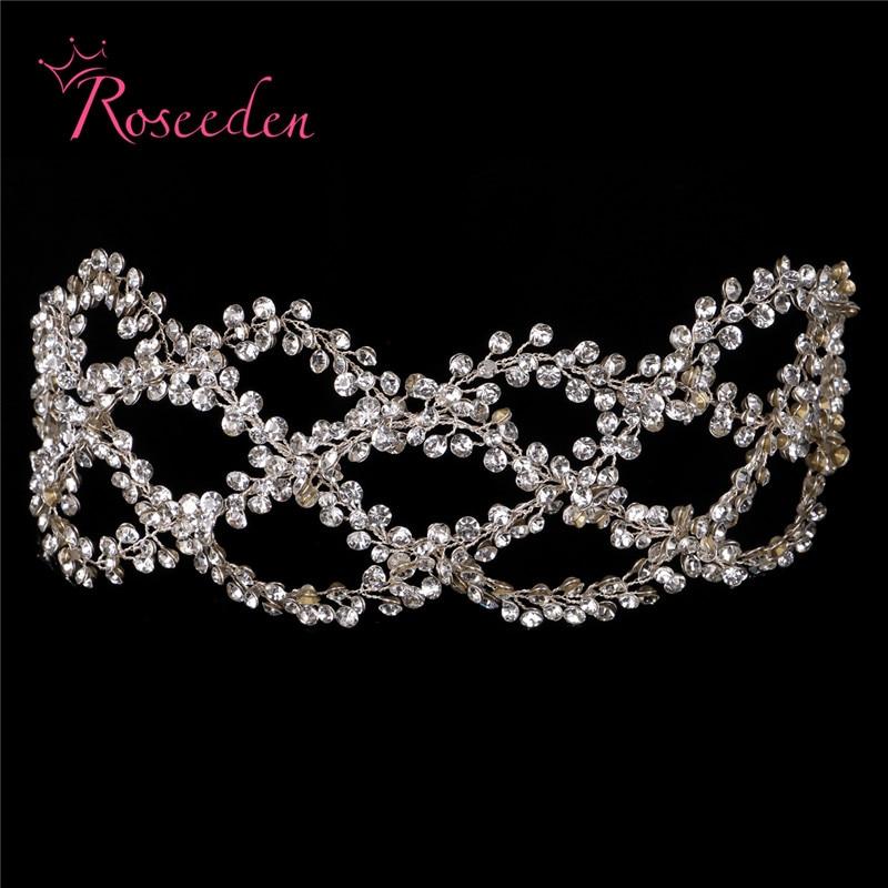Image 4 - Antique Silver Gold Wedding Bridal Hair Vine Headband Full Rhinestones Floral Wedding Headpiece Hair Accessories Handmaid RE3284Hair Jewelry   -