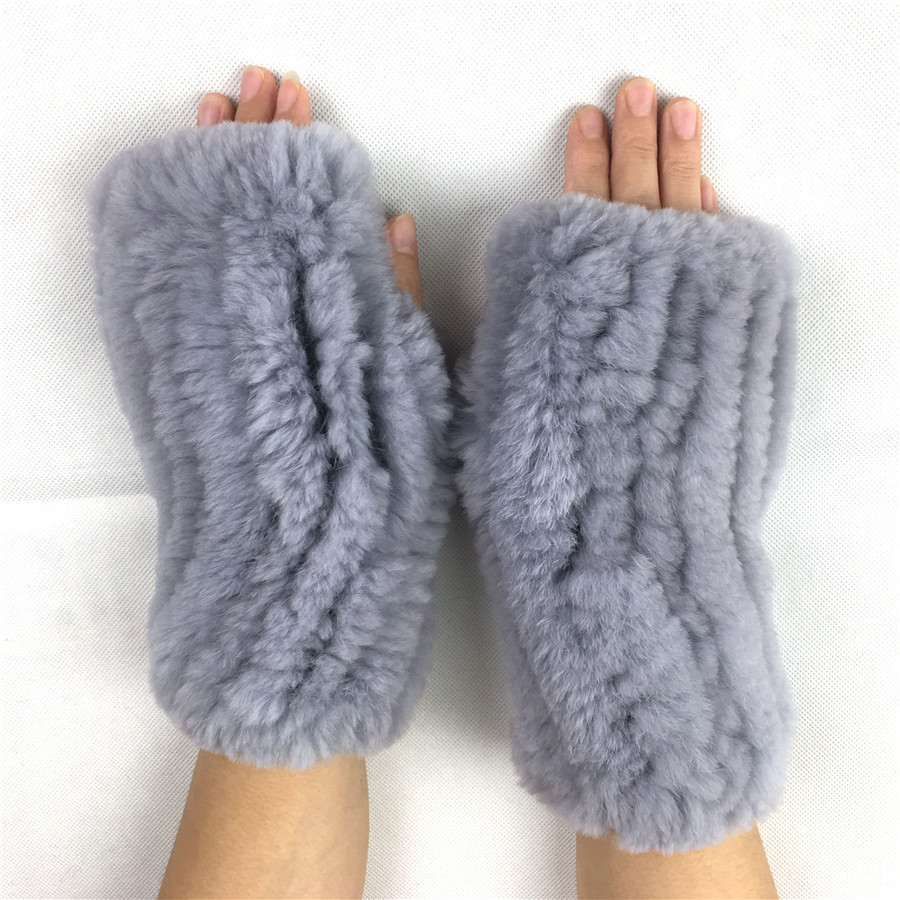 LIYAFUR New Women's Real Genuine Knitted Rex Rabbit Fur Winter Fingerless Gloves Mittens Arm Sleeve