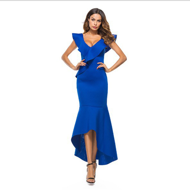 Women Designer Runway Dress Luxury Nice Ruffle V Neck Bodycon Long Dresses Solid Color Maxi Dovetail Dress With Open Back Slim