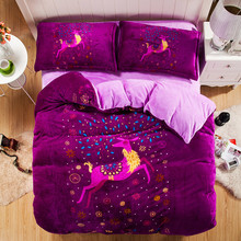The Price Of Sky Blue Bedding Set Clean and Simple Style Bed Sheet Elegant Duvet Cover Bedclothes 4Pcs Queen King