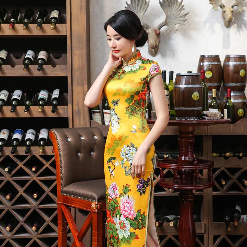 2019 new High Fashion Yellow Mandarin Collar Satin Cheongsam Chinese  Vintage Print Qipao Elegant Flower Long 47a077952257